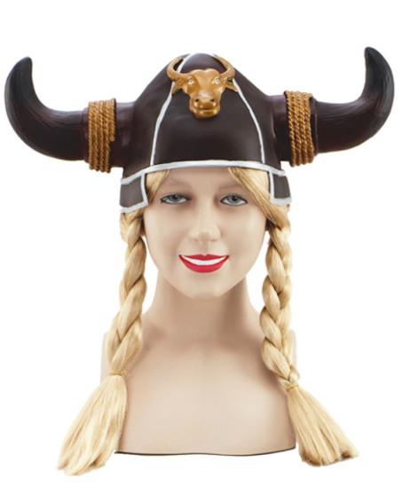 Vikingahjälm med flätor